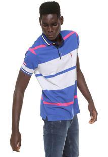... Camisa Polo Aleatory Reta Listrada Branca Azul 49b86753c21a5