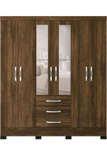 Guarda-Roupa Casal Com Espelho Barcelona 6 Pt 3 Gv Marrom