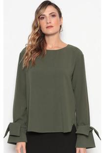 Blusa Lisa Com Botão - Verde Escurodudalina