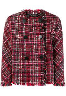Alexander Mcqueen Jaqueta Tweed Comb Botões Duplos - Vermelho