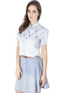 Camisa Alphorria Jeans Cropped Lavagem Clara