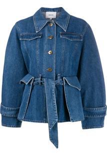 Nanushka Jaqueta Jeans Com Bolso - Azul