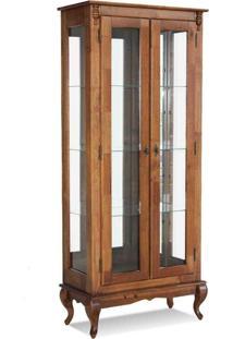Cristaleira 2 Portas C/ Vidro E Fundo C/ Espelho (Pés Luiz Xv) - Ref 60353