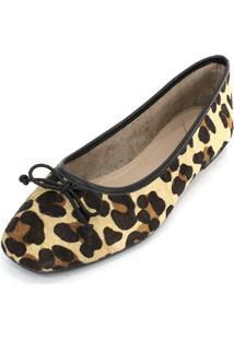 Sapatilha Couro Dali Shoes Animal Print Oncinha Marrom - Kanui