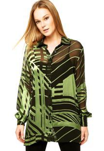 Camisa Manga Longa Forum Sandra Preta/Verde