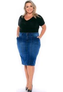 Saia Jeans Vgi Midi Plus Size Feminina - Feminino