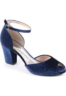 Sandália Spaço Criativo Traseiro Fechado E De Veludo - Feminino-Azul