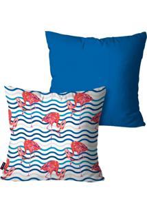 Kit Com 2 Capas Para Almofadas Pump Up Decorativas Azul Flamingos Listras 45X45Cm