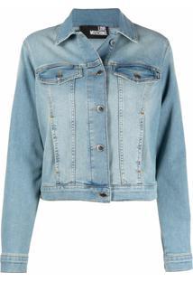 Love Moschino Jaqueta Jeans Com Efeito Desbotado - Azul