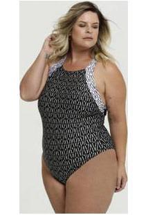 Maiô Feminino Estampado Plus Size