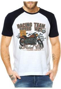 Camiseta Criativa Urbana Raglan Moto Lovers Speed - Masculino-Branco