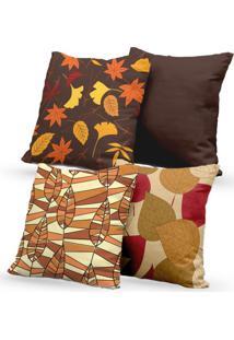 Kit 4 Capas De Almofadas Decorativas Own Estampas Folhas Outono 45X45 - Somente Capa