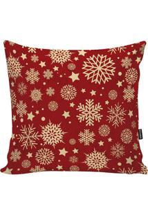Capa Para Almofada Em Microfibra Flocos De Neve- Vermelhstm Home