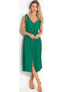 Vestido Com Botões Frontais Verde