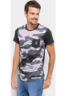 Camiseta Rg 518 Camuflada Manga Curta Masculina - Masculino-Preto