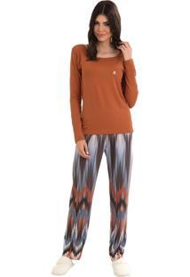 Pijama Toque Intimo Longo Étnico Ferrugem Multicolorido