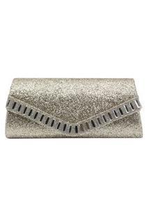 Bolsa Clutch Liage Envelope Tecido Brilhante Brilho Bordada Pedra Strass Glitter Alça Metal Dourada