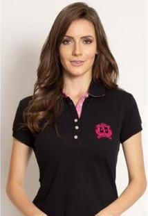 Camisa Polo Aleatory Piquet Lisa Candy Feminina - Feminino-Preto