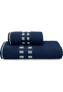 Jogo De Toalhas De Banho Donata- Azul Escuro & Cinza Clabuettner