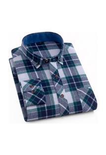 Camisa Xadrez Masculina Slim Fit Alabama - Cinza E Verde