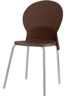 Cadeira Luna Assento Marrom Base Cinza - 53827 Sun House