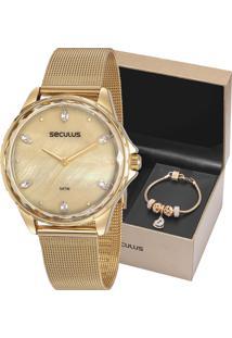Kit Relógio Seculus Feminino Com Pulseira 77069Lpskds1K1
