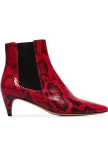 Isabel Marant Étoile Ankle Boot Detty Com Efeito Cobra Vermelha E Branca - Vermelho
