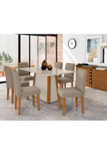 Conjunto De Mesa De Jantar Com Tampo De Vidro Júlia E 6 Cadeiras Ana Veludo Linho Carrara E Creme