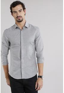 Camisa Masculina Slim Manga Longa Cinza
