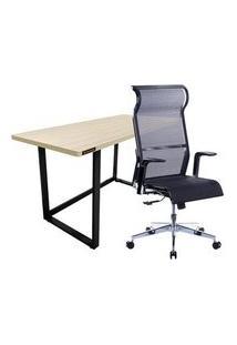 Cadeira Office Husky Technologies 500 + Mesa Office Hayonik Mho 1300 Carvalho Berlin Em Estilo Industrial - 72340