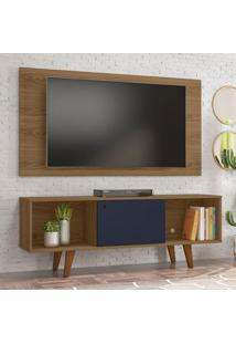 Rack Com Painel Para Tv Atã© 42 Polegadas Salah Freijo E Azul 135 Cm
