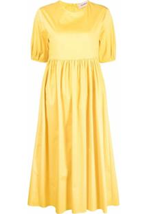 Blanca Vita Vestido Com Pregas E Mangas Curtas Bufantes - Amarelo