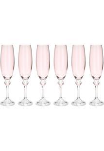 Jogo 6 Taças De Cristal Para Champagne Bohemia Elisa 220Ml Rose