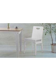 Cadeira Branca De Madeira Para Cozinha Tucupi Laca Branco 40X51X81Cm