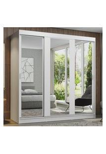 Guarda-Roupa Casal Madesa Reno 3 Portas De Correr De Espelho Branco