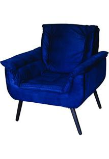 Poltrona Decorativa Monica Azul 1 Lugar Com Pés De Madeira - Matrix