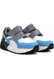 Tênis Vizzano Sneaker Velcro Feminino - Feminino-Branco+Azul