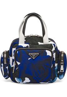 Prada Bolsa Matelassê De Nylon Com Alça De Mão - Azul