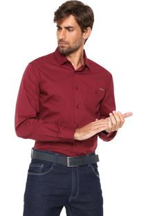 Camisa Colcci Slim Bolso Bordô