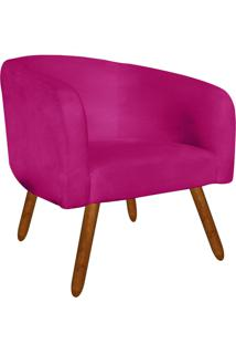 Poltrona Decorativa Stella Suede Pink Pés Palito - D'Rossi