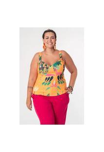 Blusa Estampada Almaria Plus Size Munny Decote Coração Amarelo