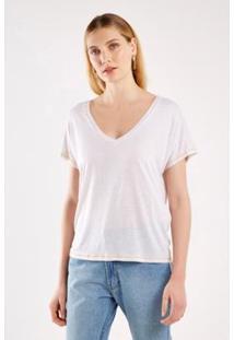 Tshirt Malha Básica Pespontos Sacada Feminina - Feminino-Off White