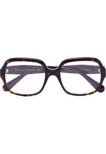 Gucci Eyewear Óculos De Sol Quadrado Havana - Marrom