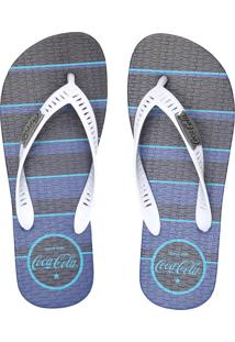 Chinelo Coca Cola Shoes Listrado Azul-Marinho