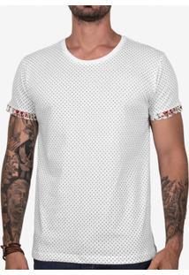 Camiseta Hermoso Compadre Poá Detalhe Estampado Of - Masculino-Branco