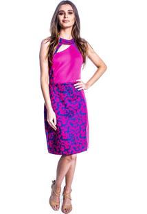 Vestido Carbella Detalhe Recortes Estampado Pink Azul