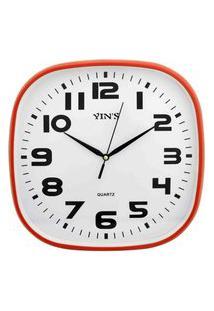 Relógio De Parede Retangular Sortido - 30Cm - Números Grandes Vermelho
