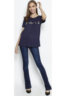 Camiseta Com Linho & Bordado - Azul Marinho & Cinzacanal