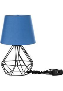 Abajur Diamante Dome Azul Com Aramado Preto