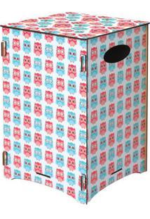 Banco Organizador Corujas- Rosa & Azul- 45X30X30Cm